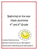 Beginning of the Year Math Activities