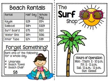 Summer Math Activities - Math Menus (3rd - 6th)