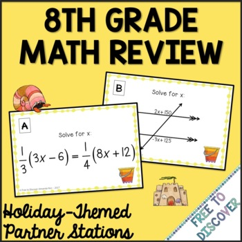 End of Year Summer Math Activity - 8th Grade Math Review