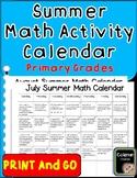 Summer Math Activity Calendar (Primary Grades)