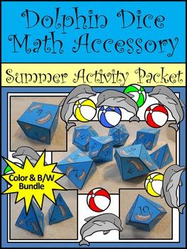 Summer Math Activity: Dolphin Dice Templates Math Activity Packet