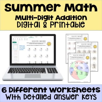 Summer Math Packet Multi Digit Addition Worksheets By Sheila