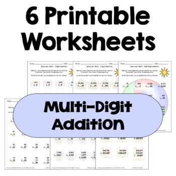 Summer Math Packet - Multi Digit Addition Worksheets