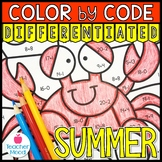 Summer Math - Addition and Subtraction Color by Code