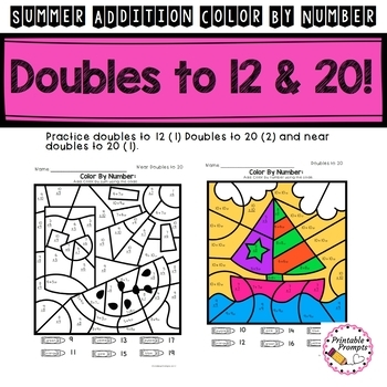 Summer Math Addition to 20 Color By Number