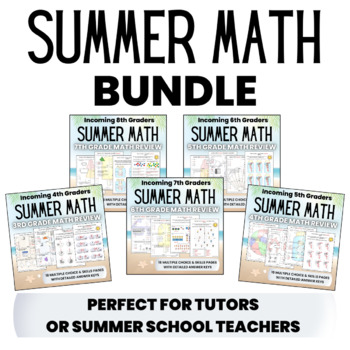 Summer Math BUNDLE for Rising 5th, 6th, 7th, and 8th Grade Students