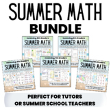 Summer Math Packet BUNDLE for Rising 4th, 5th, 6th, 7th, and 8th Grade Students