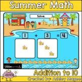 Summer Math Boom Cards - Addition to 10 - Digital Distance