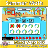 Summer Math Boom Cards - Mixed Addition & Subtraction to 1