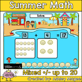 Summer Math Boom Cards - Mixed Addition & Subtraction to 2