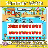 Summer Math Boom Cards - Subtraction from 20 - Digital Dis