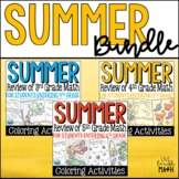 Summer Math Bundle: Coloring Activities to Review of 3rd,