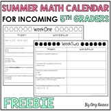 Summer Math Review Calendar for Incoming 5th Graders Freebie