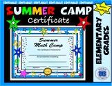 Summer Math Camp Certificate - Editable