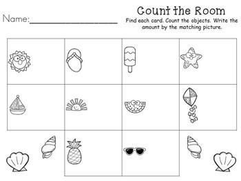 Summer Math Center - Count the Room - Teen Numbers