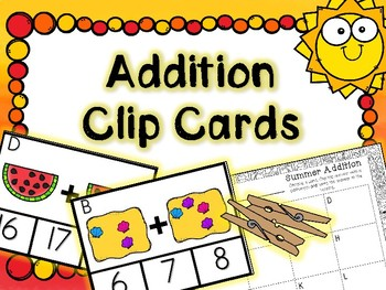 Summer Math Center - Differentiated Addtion Clip Cards