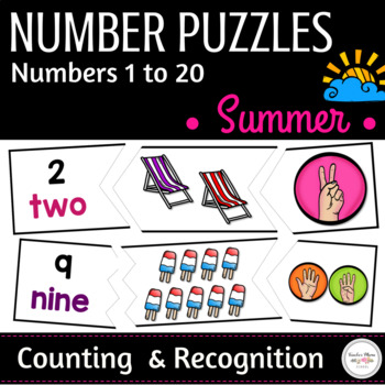 Summer Math Center : Number Puzzles - 1 to 20 { Counting & Recognition }