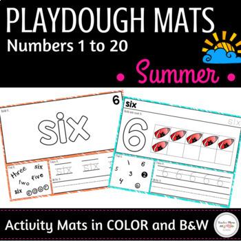 Summer Math Center : Playdough Mats - Numbers 1 to 20
