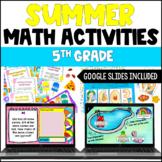 Summer Math Centers | 5th Grade Summer Math Activities