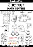 Summer Math Centers for Kindergarten B&W