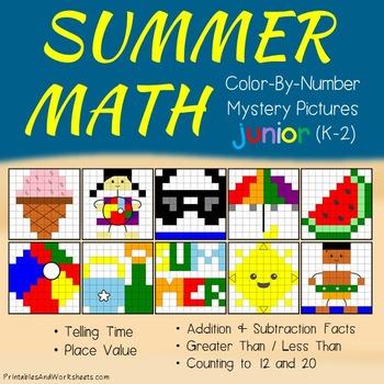 Summer Math Color-By-Number Bundle (K-2), Summer Coloring Pages Math Bundle