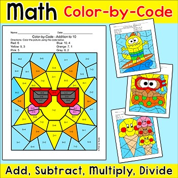 Summer Math Color by Number for Early Finishers and Math Centers