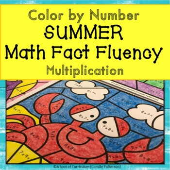 summer math color by number for multiplication fact fluency