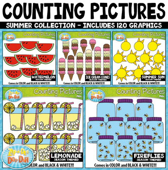Summer Math Counting Pictures Clipart Mega Bundle