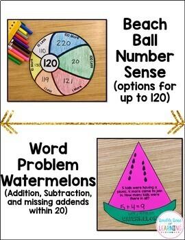 Summer Math Craftivities for First Grade { Equations, Fractions, Base Ten}