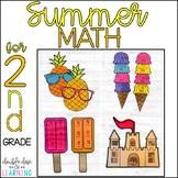 Summer Math Craftivities for SECOND Grade {Fractions, 3 di
