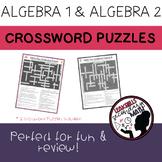 Algebra 1 and Algebra 2 Crossword Puzzles