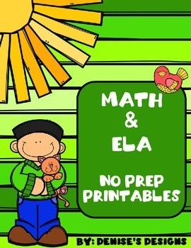 Math & ELA No Prep Printables