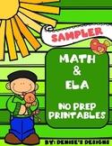 Math & ELA No Prep Printables Sample