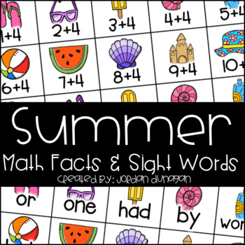 Summer Math Fact and Sight Word Flash Cards {Editable!}