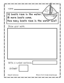 Summer Math Addition Word Problems