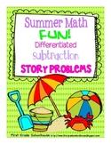 Summer Math Subtraction Word Problems