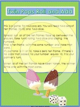 Summer Math Games with Ten Frames