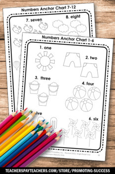 Kindergarten Counting Cut and Paste, Summer School Math Activities