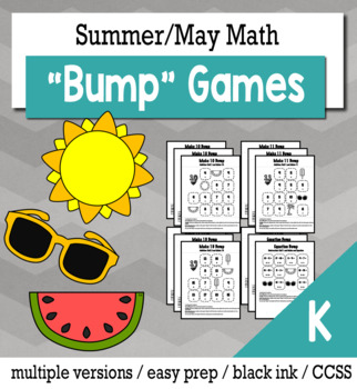 Summer Math Kindergarten Bump Games Bundle