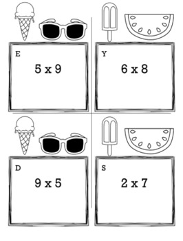 Summer Math 3rd Grade Scavenger Hunt Game Bundle