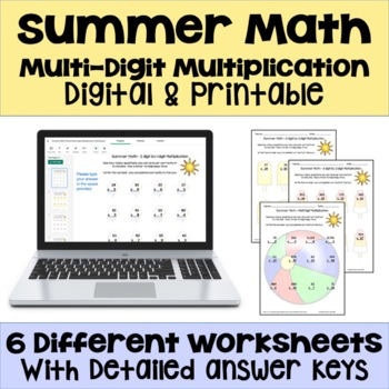 Summer Math - Multi Digit Multiplication Worksheets