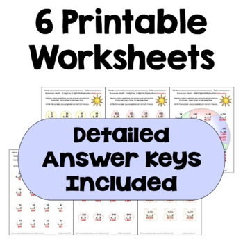 Summer Math Packet - Multi Digit Multiplication Worksheets