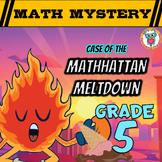 Summer Math Mystery Activity: Decimals, Angles, Subtract, Add, Multiply -GRADE 5