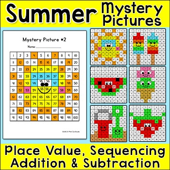 Summer Hundreds Chart Mystery Pictures Bundle - End of Year Activities