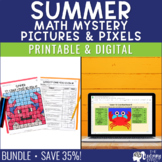 Summer Math Mystery Pictures | End of Year Review 5th & 6th Grade