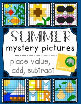 Summer Math Mystery Pictures - Place Value, Add, Subtract