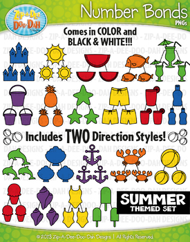 Summer Math Number Bonds Clipart {Zip-A-Dee-Doo-Dah Designs}