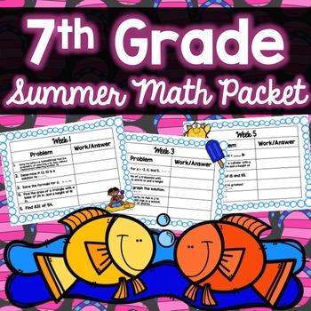 Summer Math Packet - 7th Grade (No Prep)