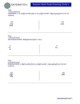 End of Year Activity Summer Math Packet Entering Grade 4