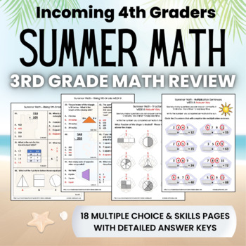 Summer Math Packet for Rising 4th Graders - Review of 3rd Grade Math